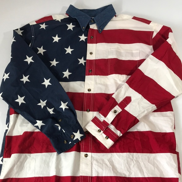 960ff030 Roper Shirts | Western Usa Flag Ls Button Shirt Mens Xl | Poshmark
